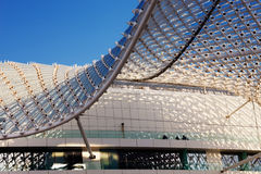 The grid shell of the Yas Hotel Stock Photos