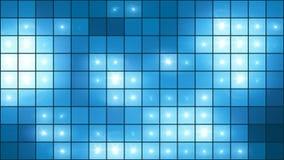 Mosaic Light Show Blue // 4k Illuminated Pixel Grid Video Background Loop @60fps stock footage