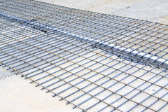 Grid by steel binding in a construction site Stock Photo