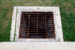 Grid steel put on drain Royalty Free Stock Images