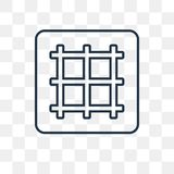Grid vector icon isolated on transparent background, linear Grid royalty free illustration