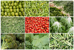 Grid of Vegetables and Fruits Stock Image