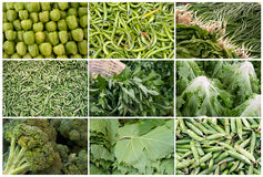 Grid of Vegetables and Fruits Stock Photo