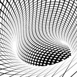 Grid vortex tunnel in black and white Royalty Free Stock Photos