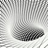 Grid vortex tunnel black and white Royalty Free Stock Image