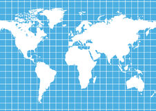 Grid World Map. White grid on world globe background royalty free illustration
