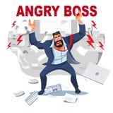 Grida arrabbiate del capo nel caos ai suoi subalterni royalty illustrazione gratis