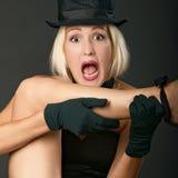Grida della donna di esposizione di varietà. Immagine Stock Libera da Diritti