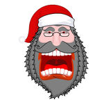 Grida scure diaboliche di Santa Claus Barba e baffi neri Negativ Immagini Stock Libere da Diritti