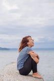 Grida soli e depressi della donna Fotografia Stock Libera da Diritti