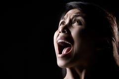 Gridando nello scuro Fotografia Stock Libera da Diritti