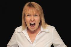 Gridare arrabbiato della donna Immagini Stock Libere da Diritti