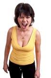Gridare arrabbiato della donna isolato su fondo bianco Fotografia Stock