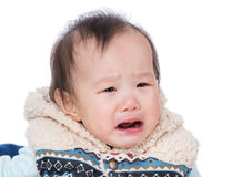 Gridare asiatico della neonata immagini stock