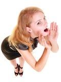 Gridare biondo di buisnesswoman della donna isolato Immagine Stock