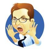 Gridare dell'uomo d'affari Immagine Stock