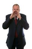 Gridare dell'uomo d'affari Fotografia Stock