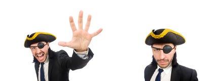 Gridare dell'uomo d'affari del pirata isolato su bianco fotografia stock