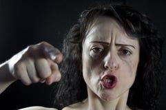 Gridare della donna Fotografia Stock