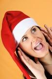 Gridare della ragazza del Babbo Natale Fotografia Stock