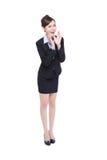 Gridare felice della donna di affari Immagini Stock