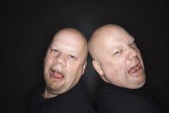 Gridare gemellare calvo degli uomini. fotografia stock libera da diritti