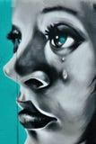 Gridare i graffiti del fronte della ragazza Fotografia Stock Libera da Diritti