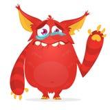 Gridare il fumetto sveglio del mostro Carattere rosso del mostro Illustrazione di vettore per Halloween illustrazione vettoriale