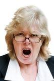 Gridare maturo della donna Fotografia Stock