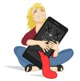 Gridare ragazza che abbraccia uno smartphone rotto Giovane donna depressa con il telefono cellulare Telefono del fumetto con gli  illustrazione di stock