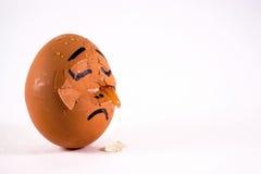 Gridare rotto triste dell'uovo Fotografia Stock Libera da Diritti