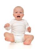 Gridare triste del piccolo del bambino bambino infantile della neonata Fotografia Stock Libera da Diritti