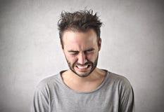 Gridare triste dell'uomo Fotografia Stock