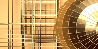 Gridded, wireframe golden sphere. Gridded wireframe golden sphere on yellow background. metal lattice. 3d rendering Stock Images
