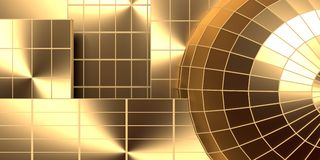 Gridded, wireframe golden sphere. Gridded wireframe golden sphere on yellow background. metal lattice. 3d rendering Stock Photos