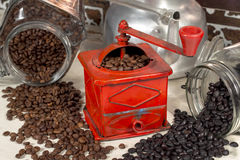 Gridding coffee beans of different types Royalty Free Stock Image
