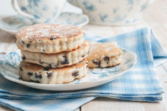 Griddle cakes or Welsh cakes stock photos