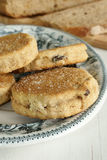 Griddle cakes. Welsh cakes or Griddle cakes made with dried fruit and spices Stock Photos