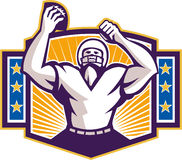 Gridiron Football Player Touchdown. Illustration of an american football gridiron wide receiver running back player celebrating a touchdown facing front set Stock Photography