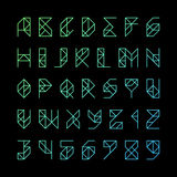 Modern alphabet letters and numbers Stock Photos