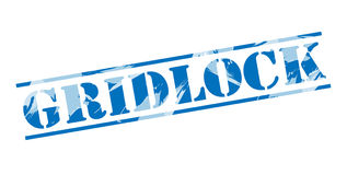 Gridlock blue stamp. Isolated on white background Royalty Free Stock Photos