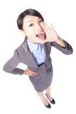 Grido felice della donna di affari Fotografia Stock