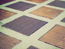 Grids picture. Vintage look ventilation grids manholes Stock Images