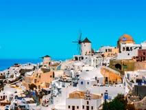 Grieche Oia-Dorf in Santorini-Insel Lizenzfreies Stockbild
