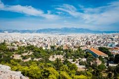 Griechenland, Athen im August 2016 die Akropolis von Athen, alte Zitadelle extrem gelegen auf einem Felsgelände über der Stadt vo stockbilder