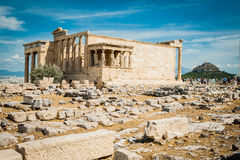 Griechenland, Athen im August 2016 die Akropolis von Athen, alte Zitadelle extrem gelegen auf einem Felsgelände über der Stadt vo stockfoto