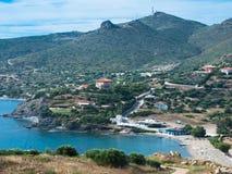 Griechenland, außerhalb Athens, Ägäisches Meer, Badeort, im Tal lizenzfreie stockfotografie