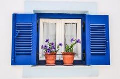 Griechenland-Blaufenster Stockbilder