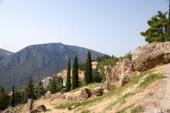 Griechenland. Delphi. Alte Ruinen Stockfotografie
