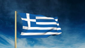 Griechenland-Flaggenschieberart Wellenartig bewegen in den Wind mit stock footage